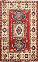 2x3 Super Kazak Geometric Oriental Hand-Knotted Vegetable Dye Area Rug RED/IVORY