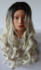 Costume Cosplay Wig Long Curly Wavy Two Tone Ash Blonde Ombre Dark Root Wigs