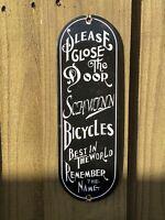 VINTAGE 1938 SCHWINN BICYCLE PORCELAIN METAL SIGN USA OIL GAS STATION DOOR PUSH