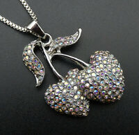 Betsey Johnson AB Crystal Rhinestone Cherry Pendant Sweater Necklace