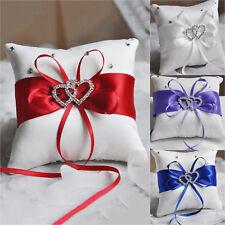 Wedding Party Supplies Ring Pillow Bearer Cushion Engagement Diamond Dual Heart