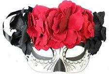 Day of The Dead Spider and Beads Half Mask Women Gothic with Flowers
