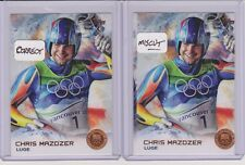 (2) 2014 TOPPS OLYMPIC CHRIS MAZDZER LUGE BRONZE ERROR CARD #60 ~ FIRST MEDAL!