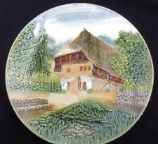 RARE Antique MAJOLICA German Plate Marked ZELL BADEN c. 1907-1928 Country Scene