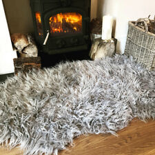 Large Double Shaggy Fluffy Sheepskin Rug for Living Room Bedroom House Floor Silver Grey