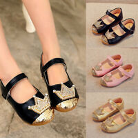 New Summer Baby Girls Sandals Crown Sequin Toddler Kids Party Wedding Flat Shoes