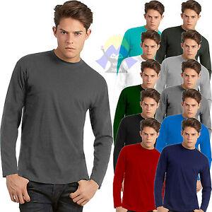 T-shirt da Uomo GIROCOLLO Maniche Lunghe B&C Exact 150 LS Maglietta COTONE Nuova