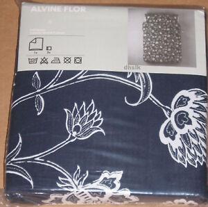 IKEA Alvine Flor QUEEN Full Duvet Cover and Pillowcases Set BLUE Floral Vine