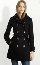 Burberry Brit Balmoral Black Wool Cashmere Classic Trench Coat UK 4 6-8 RRP £995