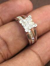 Pave 1.25 Cts Princess Round Brilliant Cut Diamonds Wedding Ring In 14Karat Gold