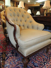 Pair Club Side Chairs  beautifully shaped extremely comfortable beige tufted