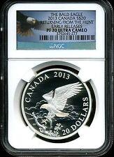 Canada 2013 $20 Proof Silver Bald Eagle Return Hunt PF70 UCAM NGC 3792645-277