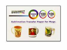 100x Sublimation Paper Mug pre-cut 24x10 cm Dye SUB Mug Size