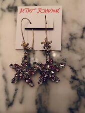 Betsey Johnson Pink Rhinestone Star Fish Crystal Gold Tone Dangle Earrings