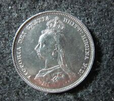 1887 Great Britain Shilling Higher Grade Nice Details Cleaned