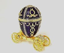 Ciel Collectable Egg on Carriage Trinket Box Made with Swarovski Crystal