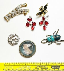 Vintage lot of bug pins, red earrings, horse medallion for jewelry making repair