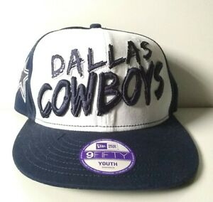 DALLAS COWBOYS YOUTH New Era 9FIFTY Hat. Navy/White Cowboys on Crown. Brand New