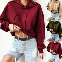 Women Hoodie Tops Round Neck Sweatshirts Pullover Long Sleeve Casual Crop Shirts