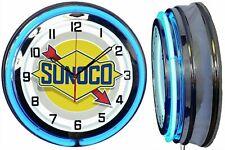 "19"" SUNOCO Gasoline Motor Oil Gas Station Sign Double Neon Clock"