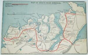 Official 1911 Londonderry & Lough Swilly Railway Co. Map Postcard From Manager