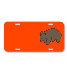 Animal Wombat Mammal Brown Wombat On License Plate Car Front Add Names