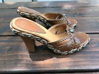 Hilary Radley Woman's Shoes Heels Brown Leather Mules Size 5 Great Condition