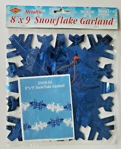 "1990's Beistle Metallic Snowflake Garland 8""x9' New In Packaging"