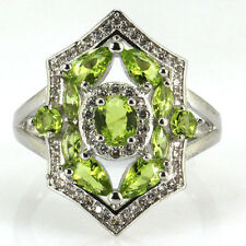 Green Peridot Sterling Silver 925 & CZ Ring Size 7.5 Weimaraner Rescue Charity