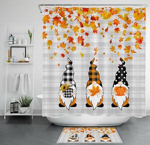 "Fall Plaid Gnomes Maple Sunflower Pumpkin Shower Curtain Set Bathroom Decor 72"""