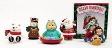 Hallmark Merry Miniatures Polar Bear, Cat Saucer,Caroling Bunny, Santa, Nativity