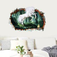 3D Loch Wald Einhorn Entfernbar Wandaufkleber Abziehbild Kind Dekor eNwrg