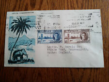 """VERY RARE CEYLON TO ENGLAND 1946 """"PRIVATELY DESIGN - ELEPHANT"""" 1ST DAY COVER FDC"""