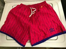 Vintage 1990s Umbro - Spell Out Nylon Soccer Shorts Pink usa made size adult L