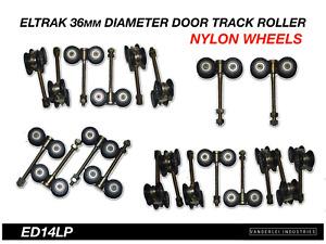 Eltrak Shed Door Track Roller 4 Wheel Nylon Carriage 36mm Diameter Wheels