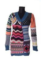 Women's DESIGUAL RAINBOW Multicolored Acrylic V-Neck Sweater Tunic Size M