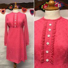 ORIGINAL VINTAGE BRIGHT PINK 60s SHIFT DRESS SIZE 10 LACY FLOWER BUTTONS MOD