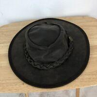 Rare  Barmah Squashy Hat Kangaroo Leather Made in Australia  Size Medium ,Hiking