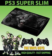 PLAYSTATION PS3 SUPER SLIM DARK WOLF WEREWOLF SKULL SKIN STICKER & 2 X PAD SKINS