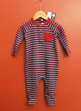 NWT Rabbit Moon Baby Boy Long Sleeve Striped Footie Size 6-9 Months in Red/Blue