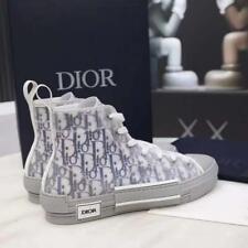 Christian Dior B23 Sneaker Haute Toile Oblique Bleu Marine Semelle Gomme Grise