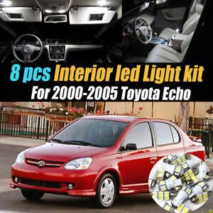 8Pc Super White Interior LED Light Bulb Kit Package for 2000-2005 Toyota Echo
