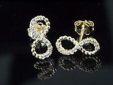 585 Gold Ohrstecker mit 22 Zirkonia Steinen 10 x 5 mm 1 Paar Unendlichkeit