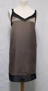 Womens Topshop Black & Gold Dress Size 10 Shift Dress Mini Dress - B46