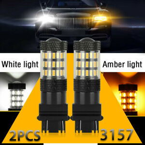 2x Amber/White 3157 4014 60SMD LED Front Turn Signal Light Bulbs Car Universal