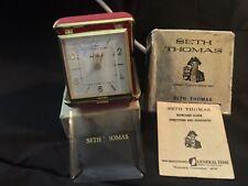 Vintage Seth Thomas Travel Clock 40 Hr. Alarm Tripette # 3852 Red  Case in Box