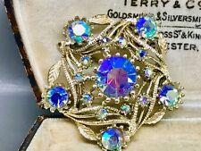 Lovely Blue Aurora Borealis Crystal Brooch