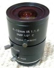 Camera Varifocal Lens 2MP FL 4-12MM F1.6 C-Mount 87-39° Manual Iris 1/2'' Format
