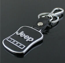 Car Keyring Key Ring JEEP Real leather Stainless Steel Badge Emblem