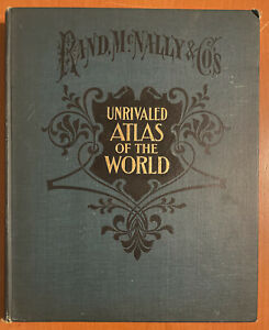 Antique 1908 Rand McNally Unrivaled Atlas Of The World Color Maps 14X12 Format